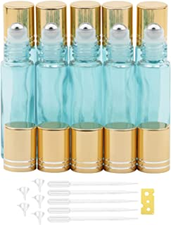 jiuwu 10 Pack 10ml (0.3 Oz) Pearlescent Blue Glass Essential Oil Roller-on Bottles with Stainless Steel Balls Vials for Pe...