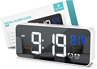 HeimVision LED Digital Alarm Clock, Dual Alarm, 5 Brightness&13 Ringtones, 12/24H, Bedside Clock with Built-in Sound Senor, Temperature, Snooze, Portable Clock for Bedroom, Home and Travel