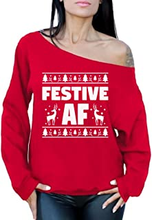 Festive AF Sweatshirt Festive AF Sweater Ugly Christmas Off Shoulder Top