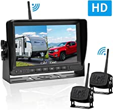 RV Dual Digital Wireless Backup Camera Kit with 7 Inch LCD Monitor Trailer Rear View Front View Camera Without Difference Color No Interference IP69 Waterproof Latest Wide-Angle Camera