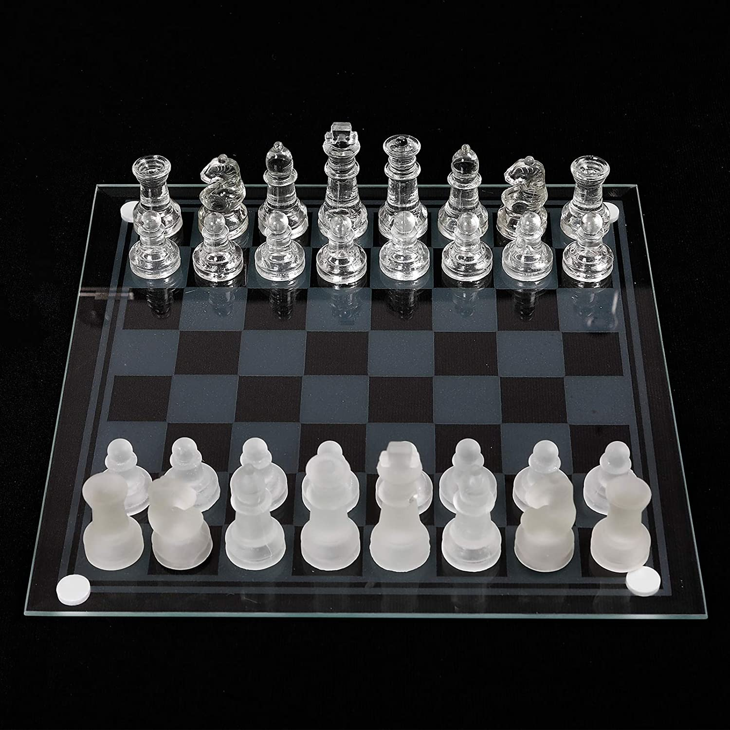 33 Time sale Pieces Glass Trust Chess and Crystal Set Solid