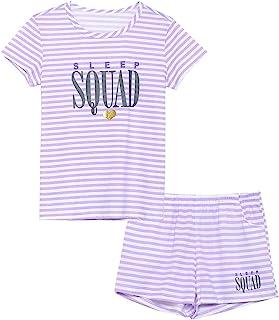 Summer Pajamas for Girls – Stripe & Glittering Heart PJS...