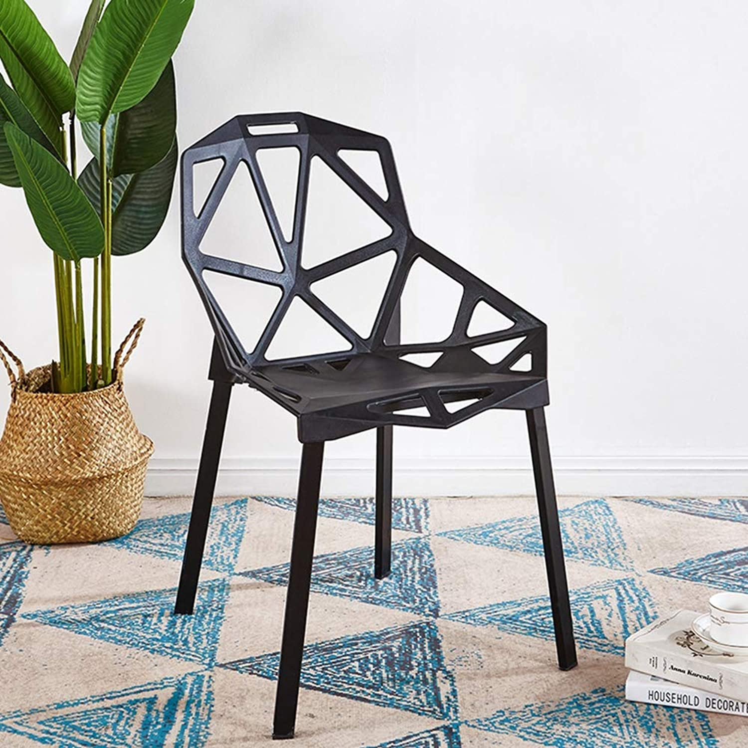 Plastic Chair Transformers Chair Spot Simple Modern Hotel Restaurant Cafe Fashion Leisure Backrest Plastic Chair Quality Environmental Predection Pp Material,Black