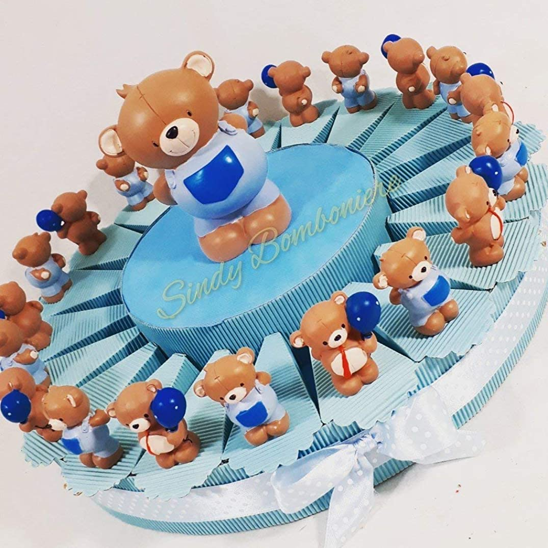 Sindy Party Favours Cake Favours Teddy Bear Assorted Photo Frame Baby Birthday Christening, Cream, Light Blue, 4.5