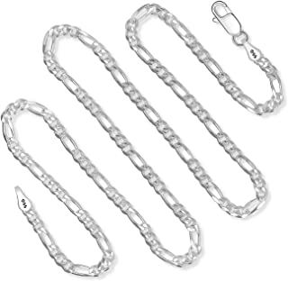 925 Sterling Silver 3MM Figaro Chain Italian Necklace For Men & Women Lobster Claw Clasp 16