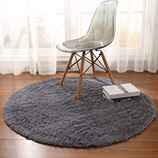 Noahas Luxury Round Rugs for Princess Castle Ultra Soft Play Tent Rug Circular Area Rugs for Kids Baby Bedroom Shaggy Circle Playhouse Carpet Nursery Rugs, 4 ft Diameter, Gray