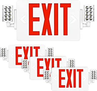 Hykolity Red Exit Sign, 120-277V Double Face LED Combo Emergency Light with Adjustable Two Head and Backup Battery - 4 Pack