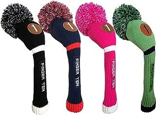FINGER TEN Pom Pom Golf Club Head Covers for Driver Fairway Hybrid Wood, Vintage Knit Black Blue Pnk 1 3 5 Men Women Set