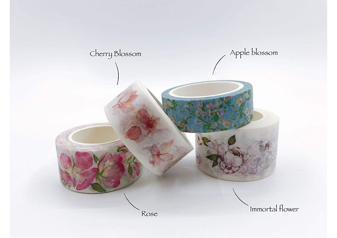 Pink Floral Bouquet-Cherry Blossoms, Apple Blossoms, Roses, Immortal Flowers- washi Tape Set. Set of 4 Extra Long Tape Rolls for DIY, Crafts, Gift wrap, Scrapbook,