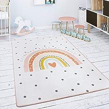 Kindervloerkleed Kinderkamer Speelkleed Babykleed Regenboog Hart Crème Roze, Maat:80x150 cm
