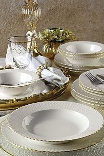 Kutahya Porcelain Bone Iron 24 pcs Dinner Set with Gold Rim