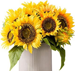 HEBE 2 Pack Artificial Sunflower Bouquet Silk Fake Sun Flowers Arrangement Artificial Sunflower Decor Sunflower with Stems Leaves for Bridal Wedding Bouquet Kitchen Home Decor