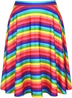 Skirts for Women - Midi Skirt Skater Skirt Knee Length High Waist Fun Prints