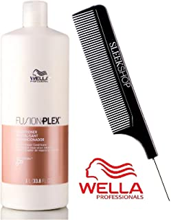 Wella FUSION PLEX Intense Repair Conditioner (with Sleek Steel Pin Tail Comb) (33.8 oz/1000 ml - LITER)