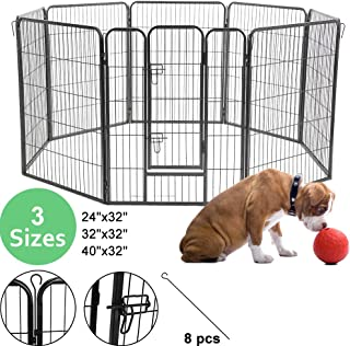 8 Panel Pet Playpen Indoor Outdoor Dog Playpen,Portable Folding Puppy Playpen for Small/Medium/Large Dogs,Garden House Dog Fence Metal Exercise Pen,24