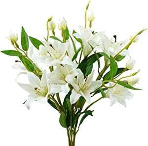 MINYULUA 3Pcs Artificial Tiger Lily Bouquet Real Touch Latex Lilies Faux Flower 30