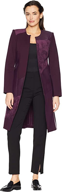 Long Jacket w/ Suede & Faux Leather