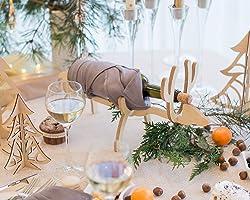 Hölzerner Flaschenhalter - Hölzerner Wein Flaschenregal - Elch Flaschenhalter - Weihnachten Weinregal -...