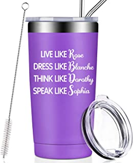 Golden Girls Funny Birthday Gifts for Women, Best Friend, BFF, Inspired By Golden Girls Quote Friendship Gifts Wine Tumbler Cup,Live Like Rose Dress Like Blanche Think Like Dorothy Speak Like Sophia