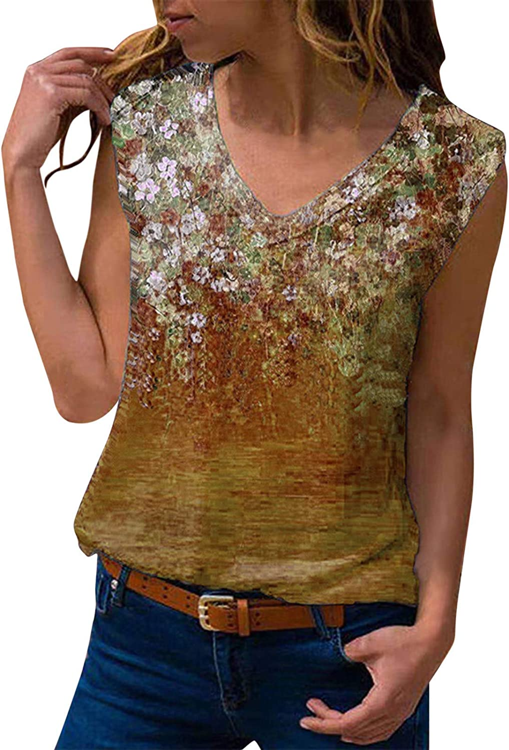 Euone_Clothes Blouse for Women Dressy Casual, Women Casual Fashion V-Neck Printed Sleeveless Top Blouse Tank Camisole