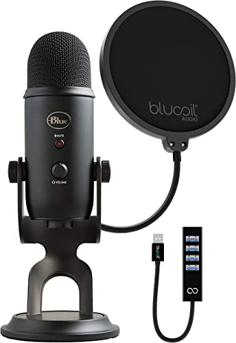 discount Blue Yeti X Professional popular Condenser USB Microphone with Blue VO!CE Effects & Sherpa App online for Gaming, Streaming & Podcasting on Windows & Mac Bundle with Blucoil Pop Filter Windscreen, and USB-A Mini Hub online