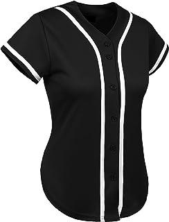 Hat and Beyond Womens Baseball Button Down Tee Short Sleeve Softball Jersey  Active T Shirts b2844fbeb