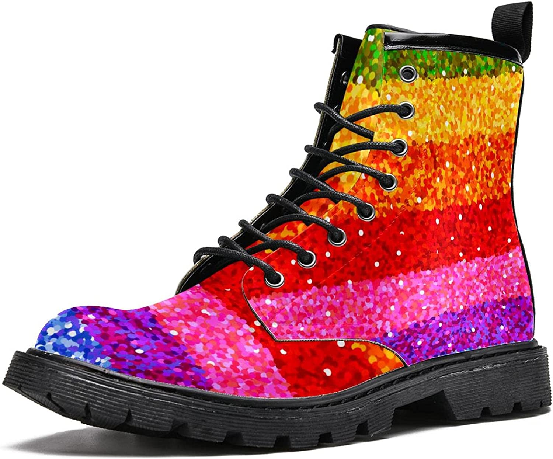 Men's Lace Fashion Boot Stripe Large-scale sale NEW Rainbow