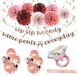 MEYSIMOON Bachelorette Party Decorations Bridal Shower Supplies Rose Gold Kit Ring Balloons,Banner,Swirl,Paper Pom Poms,Br...