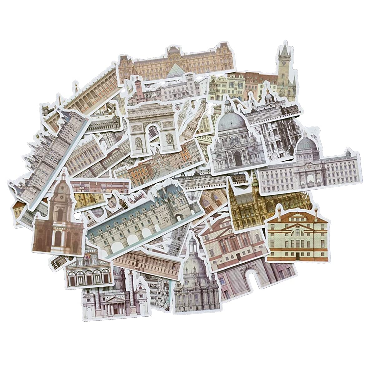 Beyong [58PCS] European Castle Stickers National Architecture Decals, for Laptop, Phone, Pad, Planner, Scrapbook, Journal