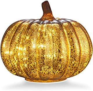 "Mercury Glass Home Decor Pumpkin, XY Decor 5.5"" Battery Operated LED Pumpkin Lights with Timer for Fall, Thanksgiving and Halloween Decoration(Gold)"