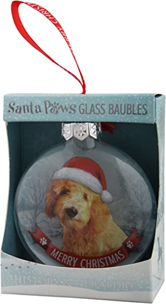 Santa Paws Glass Ornaments Bauble Goldendoodle Ornament Multicolor