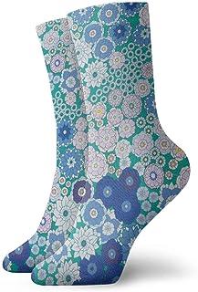 Calcetines de tobillo con estampado de flores azules Casual divertido para botas de deporte Senderismo Running Etc