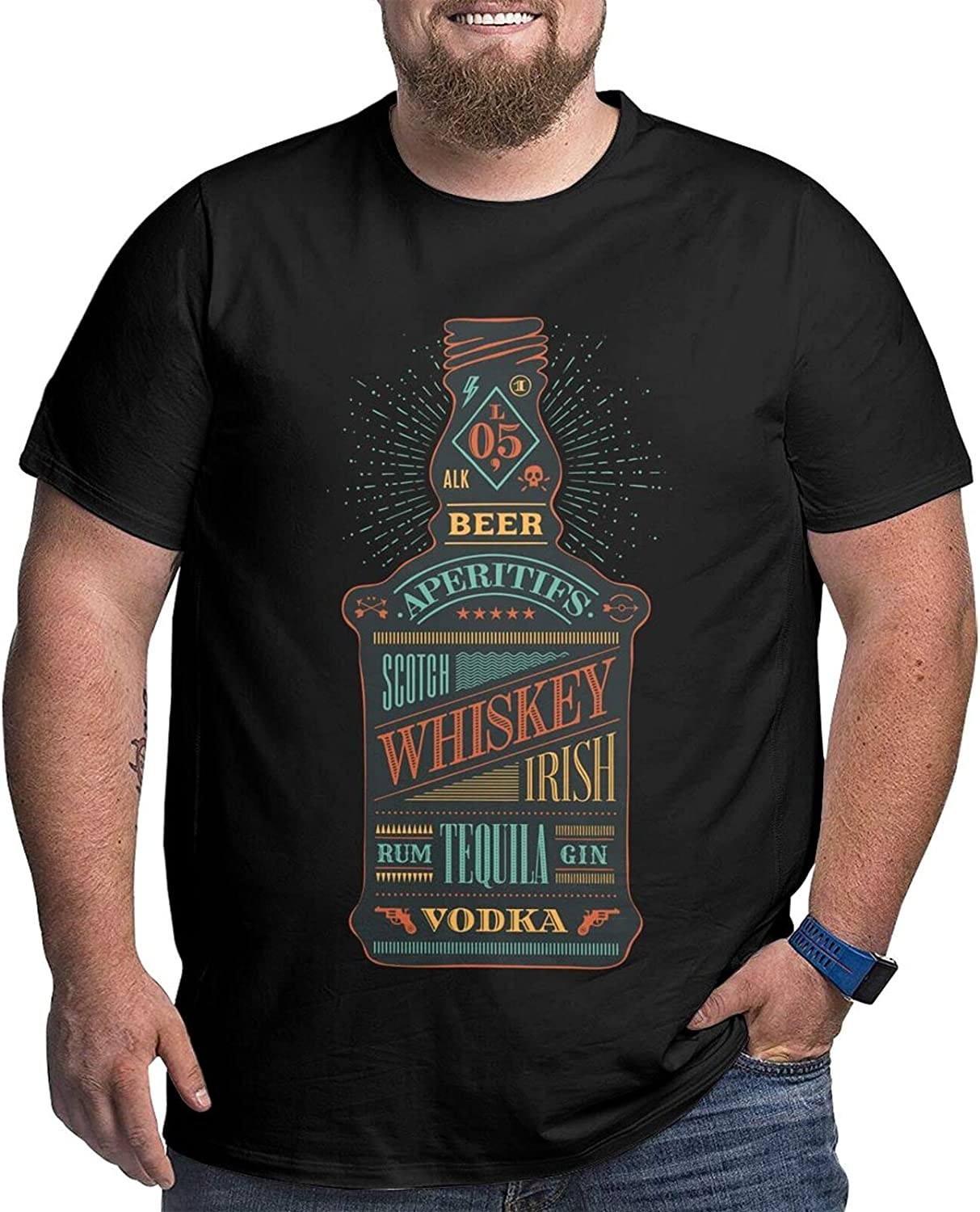 Colorful Bottle of Alcohol Bear with Men's Simple Big Size Summer Outdoor Short Sleeve Shirt