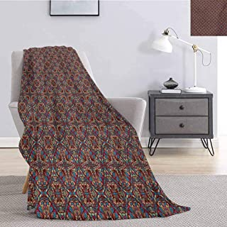 jecycleus Vintage Bedding Microfiber Blanket Oriental Turkish Carpet Design Like Image with Vivid Colorful Floral Seem Artwork Super Soft and Comfortable Luxury Bed Blanket W91 by L60 Inch Multicolor