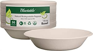 Compostable Bowls Natural Paper Bowls – 16 oz. Made from 100% Sugarcane Eco Friendly Biodegradable Soup Bowls BPA Free Kids Safe, Disposable Bowl Great for Cereal Soup Chili – By Bluetable [50 Pack]