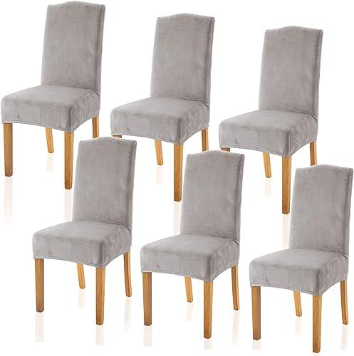 TIANSHU Velvet Dining Chair Cover Soft Stretch Dining Room Chair Slipcover Set of 6, Light Gray