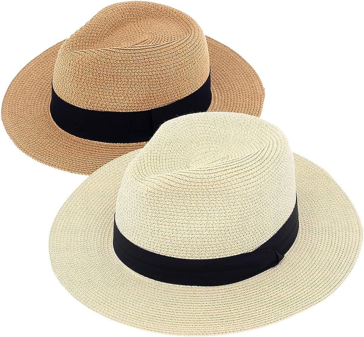 2-Pack Beach Hat for Women Summer Straw Sun Hats Wide Brim Fashion Hat Roll Up