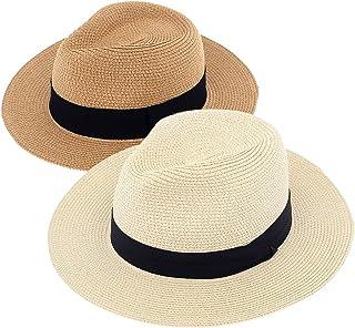 2-Pack Beach Hats for Women Summer Straw Sun Hat Wide Brim Panama Hats Roll Up