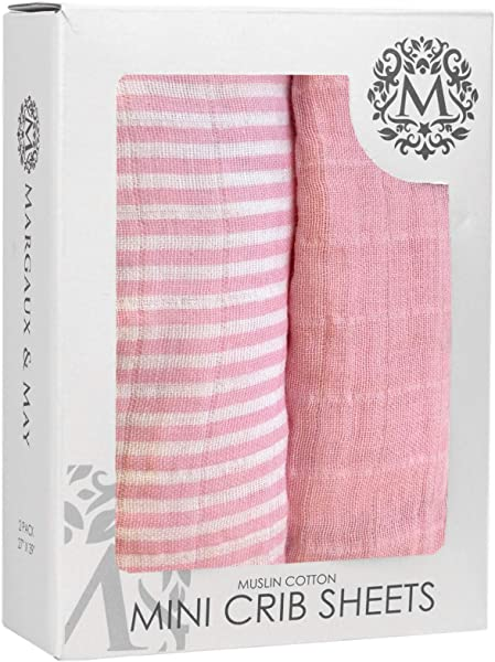 Margaux May Premium Pack N Play Mini Crib Sheets 100 Muslin Cotton Fitted Sheet Set 2 Pack Perfect For Cradle Graco Playard And Mini Crib Mattress Solid Pink Stripes Design