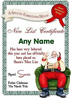 White Santas Letter Personalized Christmas Santa'S Nice List Certificate