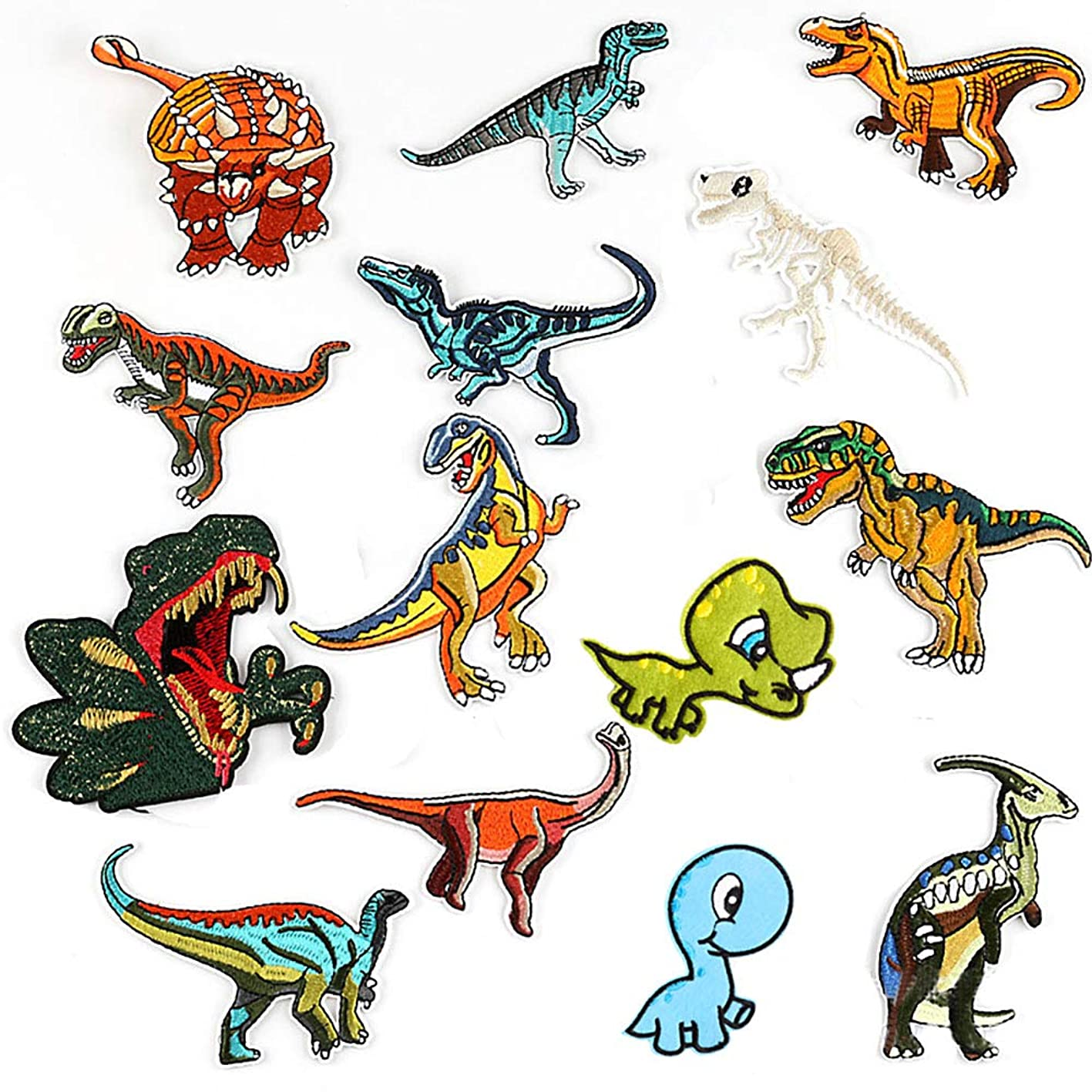 Dinosaur Iron on Patches, 14 Pieces Iron On Patches Embroidered Dinosaur Patches Decoration Sew On Patchesfor DIY Jeans Jacket, Clothing, Handbag psiyybkejdh011