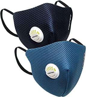 Gear OXYVENT G95 Adult Unisex Reusable & Washable 6 Layer NABL Certified Outdoor Protection Face Mask (Pack of 2) Navy Blu...