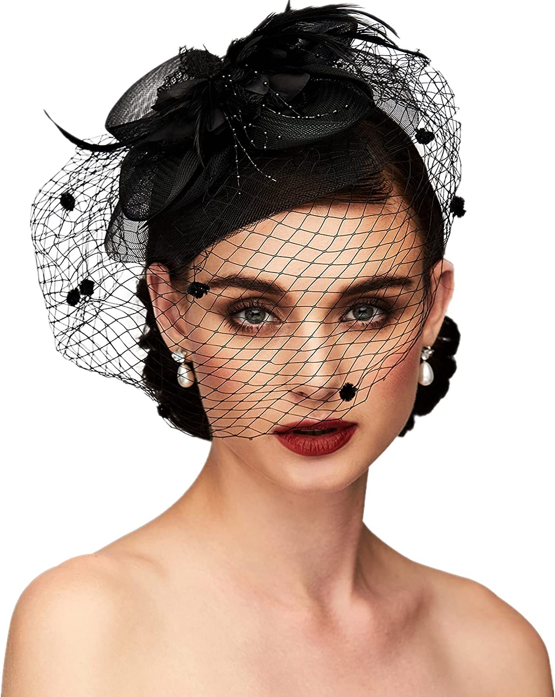TS Accessories Headwear Elegant Luxurious Feather Mesh Fascinators Hair Clip(Dark Blue)