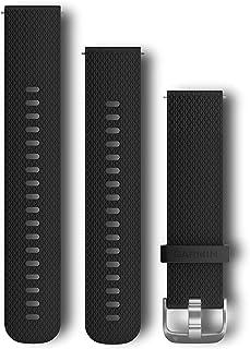 Garmin - Bracelet de montre 20mm Silicone Noir, Boucle Silver - S/M & L