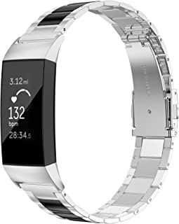 Fitbit Charge3バンド/フィットビット チャージ3 バンド Wearlizer fitbit charge 3ベルト fitbit charge3 交換バンド ステンレス バンド 軽量 調整工具付 (ブラック+シルバー)