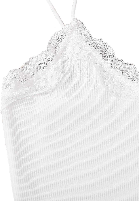 Verdusa Women's V Neck Spaghetti Strap Lace Trim Crop Cami Top