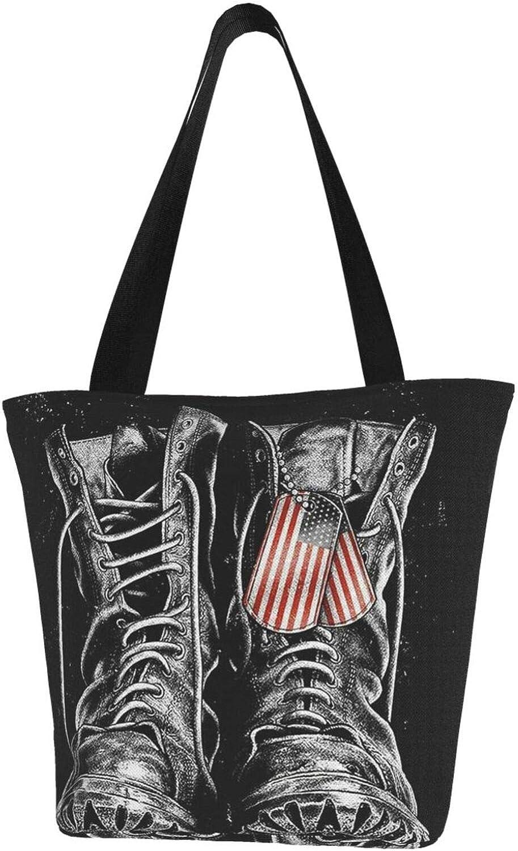 American Flag Usa Boots Themed Printed Women Canvas Handbag Zipper Shoulder Bag Work Booksbag Tote Purse Leisure Hobo Bag For Shopping