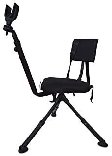 Benchmaster Ground Hunting & Shooting Chair - BMGBHSC - Ground Blind Chair with Rifle Rest - Full 360 Rotation - Quiet & Comfortable