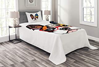 Lunarable Art Bedspread, French Bulldog Portrait with Hipster Glasses Abstract Modern Colorful Ears and Eyes, Decorative Quilted 2 Piece Coverlet Set with Pillow Sham, Twin Size, Yellow Ruby