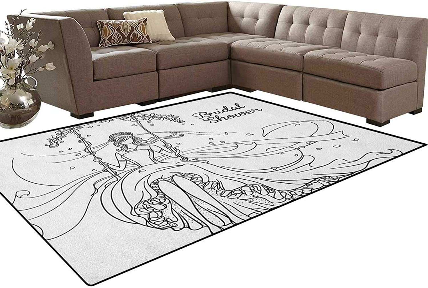 Sketchy Black and White Hand Drawn Bride with Floral Swirls Swing Image Floor Mat Rug Indoor Front Door Kitchen and Living Room Bedroom Mats Rubber Non Slip
